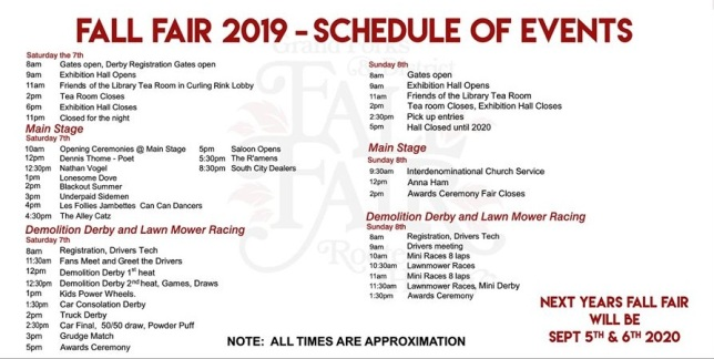2019 fair schedule of events